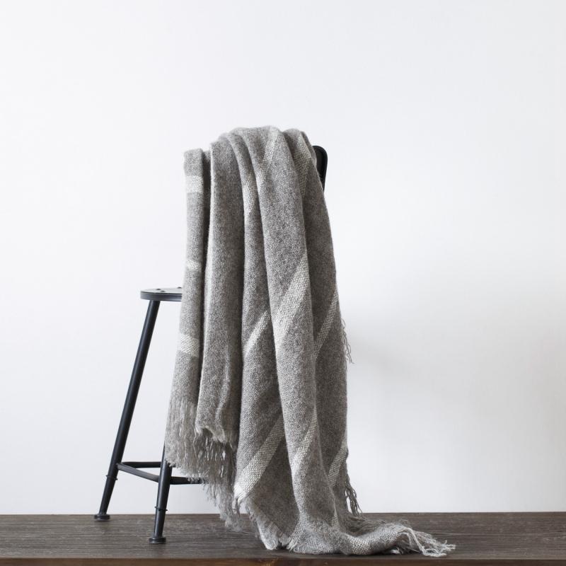 新西兰原产Stansborough指环王拉绒羊毛灰羊毛针织盖毯 浅灰