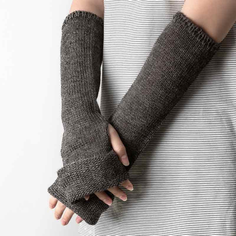 新西兰原产Stansborough甘道夫灰羊毛线编织手套假袖子 深灰