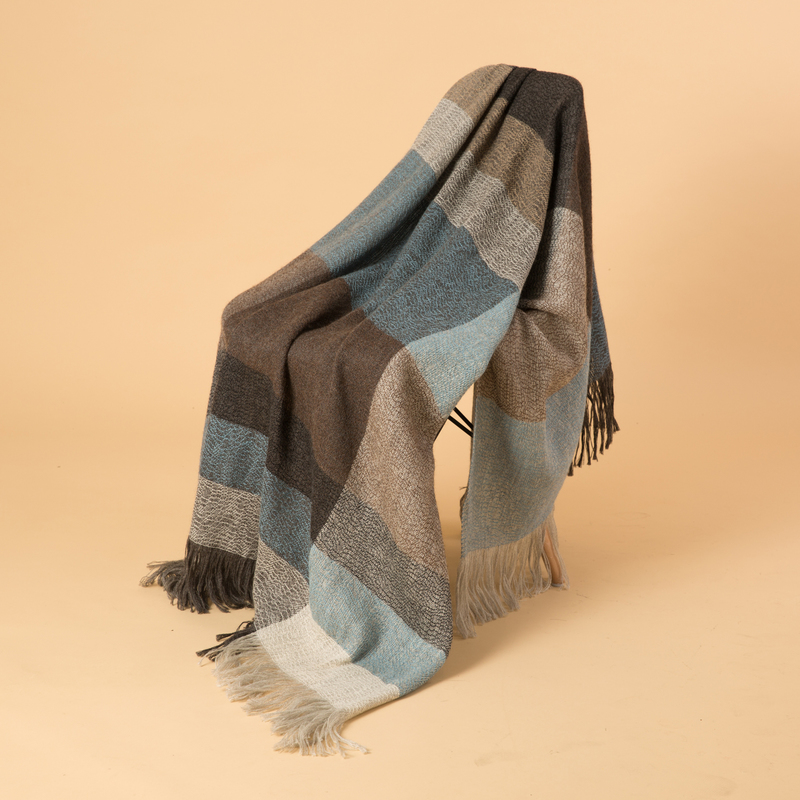 新西兰Stansborough指环王系列灰羊毛针织披肩盖毯 蓝色