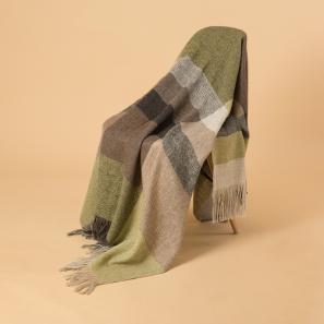 新西兰Stansborough指环王系列灰羊毛针织披肩盖毯 黄绿