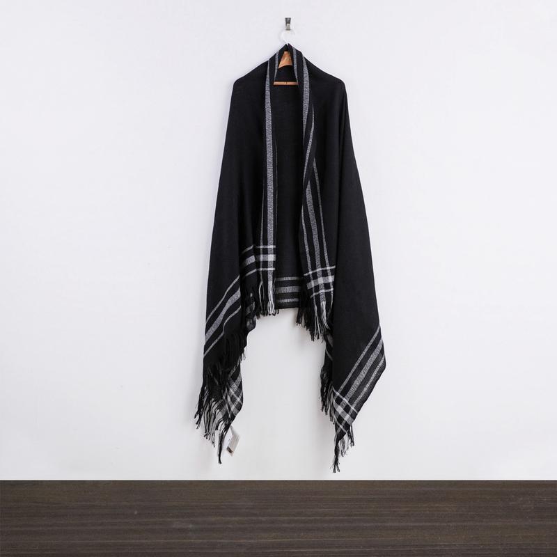 新西兰原产Stansborough理发师陶德系列灰羊毛披肩围巾 黑色