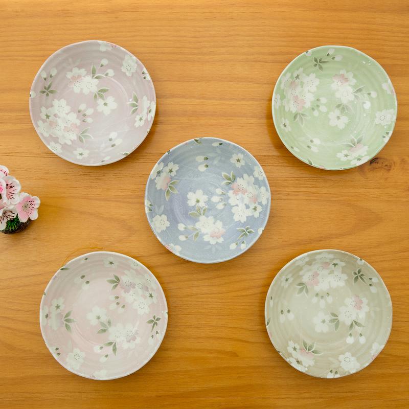 日本AITO美浓烧陶瓷碗汤碗5件 【宇野千代樱吹雪系列】花色