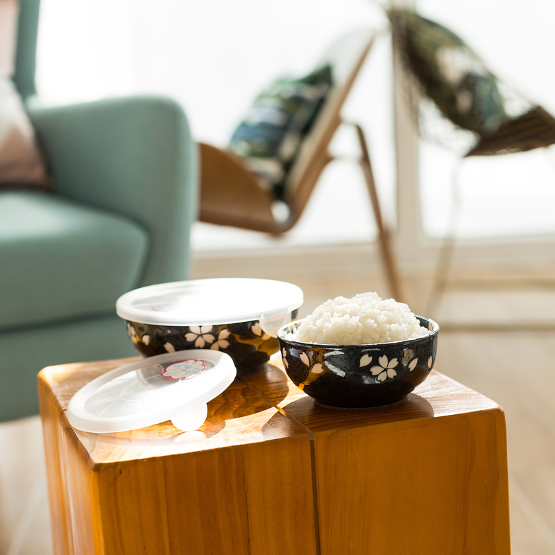 日本AITO美浓烧陶瓷保鲜碗2个 【宇野千代淡墨樱系列】黑色