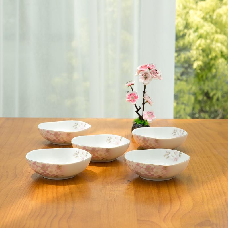 AITO美浓烧陶瓷小碗汤碗5件装 【宇野千代日和樱系列】樱粉