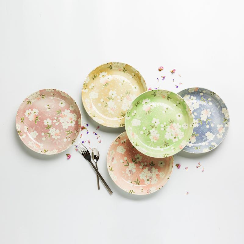 日本美浓烧陶瓷餐盘礼盒5件装 【宇野千代樱吹雪系列】花色