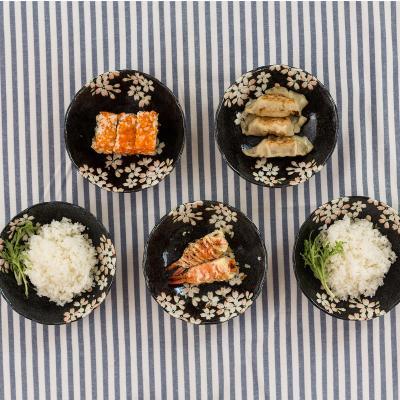 日本AITO美浓烧陶瓷碗汤碗5件套 【宇野千代淡墨樱花】黑色