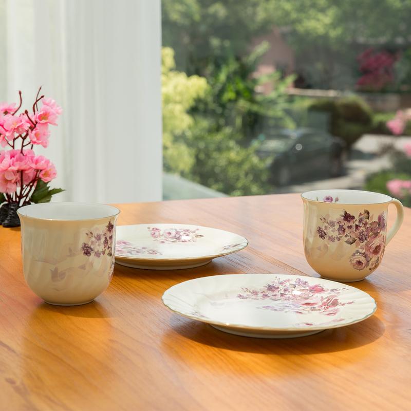 日本AITO美浓烧陶瓷马克杯餐碟2组套装 【梦幻玫瑰系列】