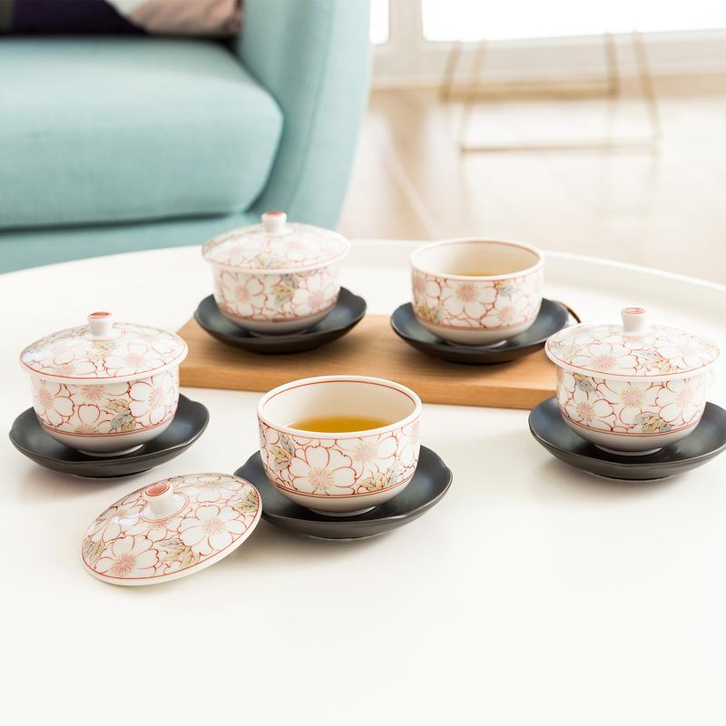 日本AITO美浓烧陶瓷带盖茶杯茶托5件套 【抚松庵系列】红色