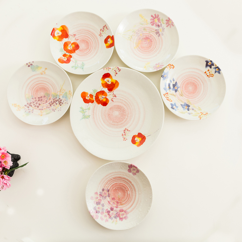 日本AITO美浓烧陶瓷餐盘碟6件套 【抚松庵华美系列】红色