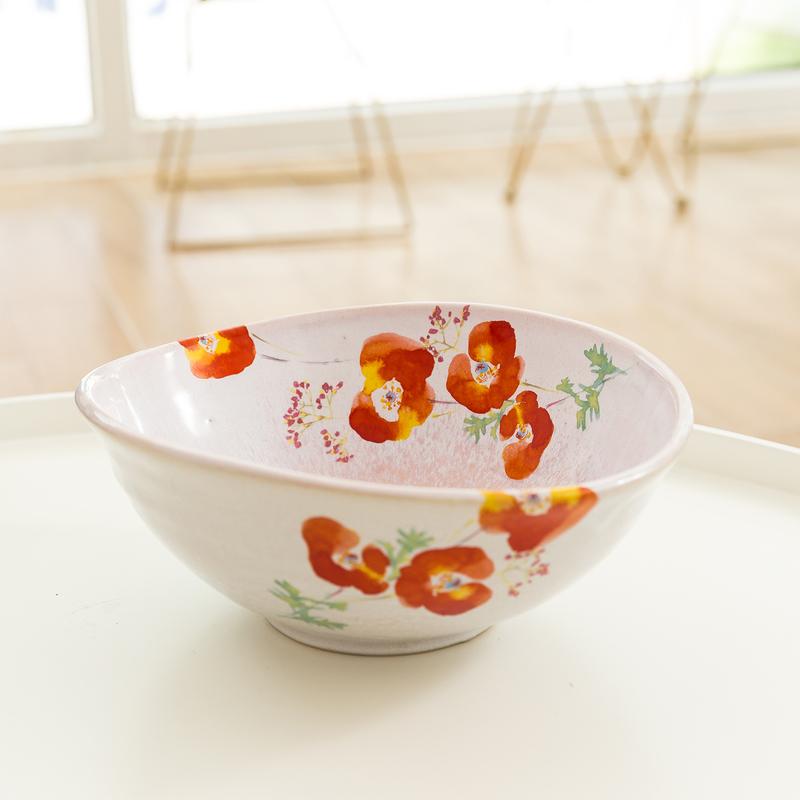 日本AITO美浓烧陶瓷大碗沙拉碗汤碗 【抚松庵华美系列】红色