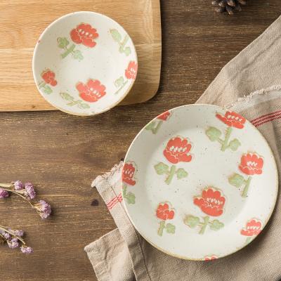 AITO美浓烧陶瓷碗碟套装 【Nordic-Flower四季餐桌系列】夏荷