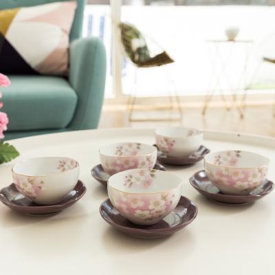日本AITO美浓烧茶杯茶托茶具5件套 【宇野千代日和樱】粉红