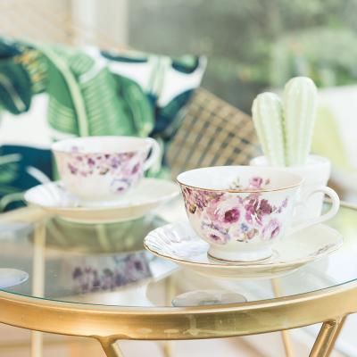 AITO美浓烧陶瓷茶水杯咖啡杯杯托2组套装 【梦幻玫瑰系列】