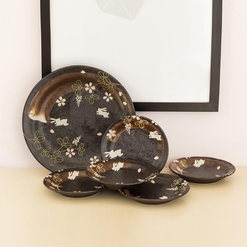 日本AITO美浓烧陶瓷餐盘碟礼盒6件套 【林静一春秋兔】黑色