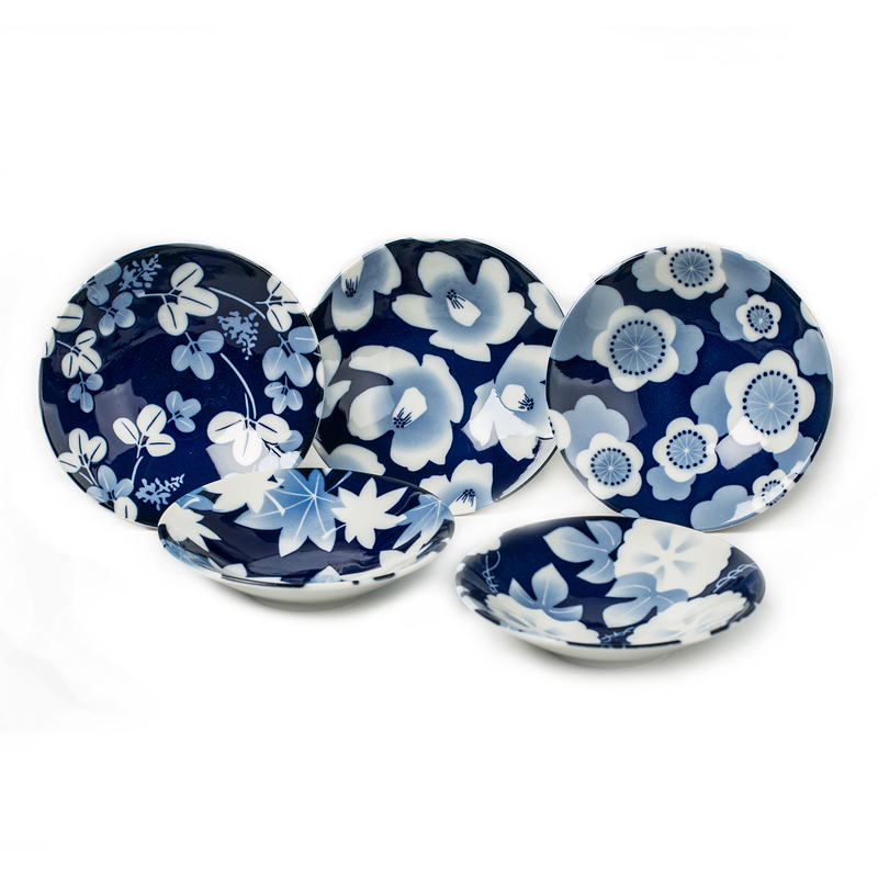 AITO美浓烧陶瓷碗饭碗汤碗5件套 【林静一琉璃花系列】蓝色