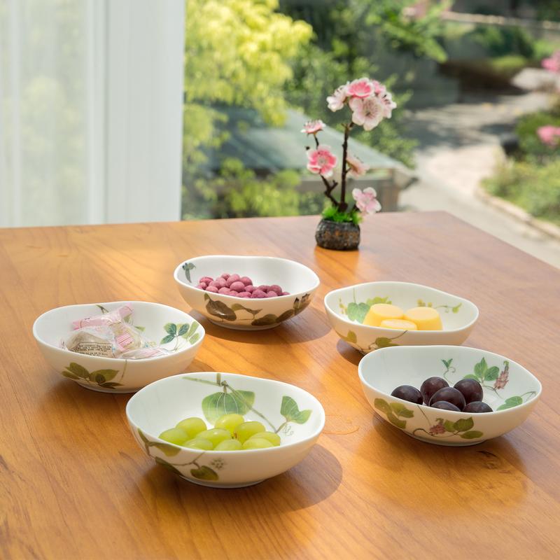 AITO美浓烧陶瓷饭碗汤面碗5件套 【林静一春花系列】绿色