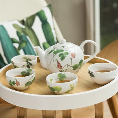 AITO美浓烧陶瓷茶水壶茶杯茶具套装 【林静一春花系列】绿色