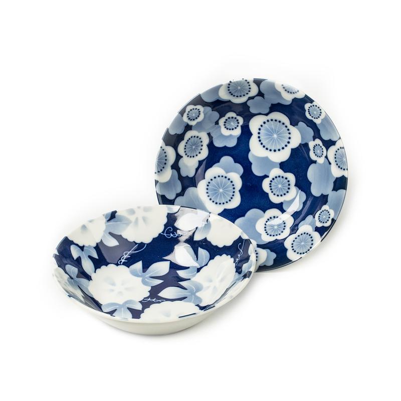 AITO美浓烧陶瓷碗汤碗面碗2件套 【林静一琉璃花系列】蓝色