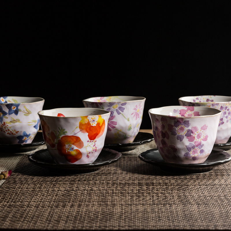 日本原产AITO美浓烧陶瓷茶杯托茶具5件 【抚松庵系列】彩色