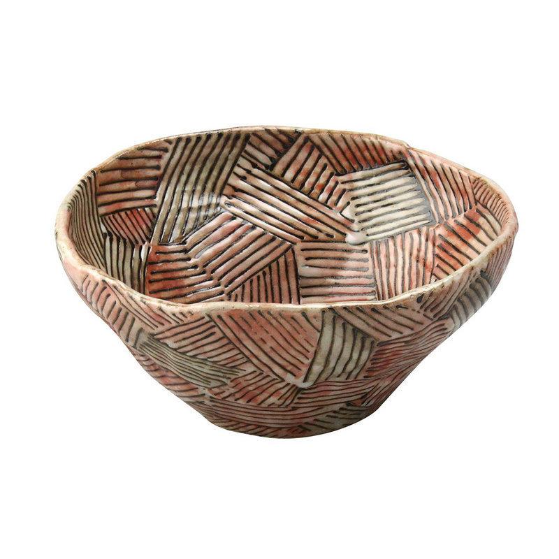 日本AITO手作陶瓷大碗汤面碗 【濑户烧手工网纹】深红
