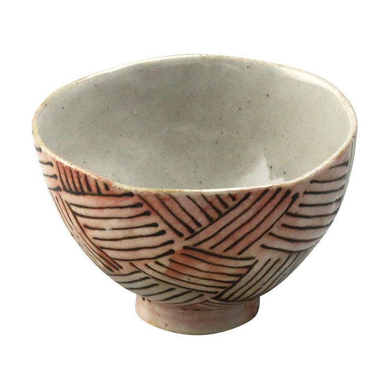 日本AITO手作陶瓷小圆碗汤面碗 【濑户烧手工网纹】深红