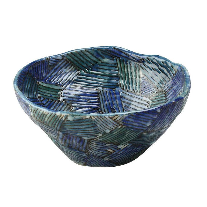 日本AITO手作陶瓷大碗汤面碗饭碗 【濑户烧手工网纹】深蓝