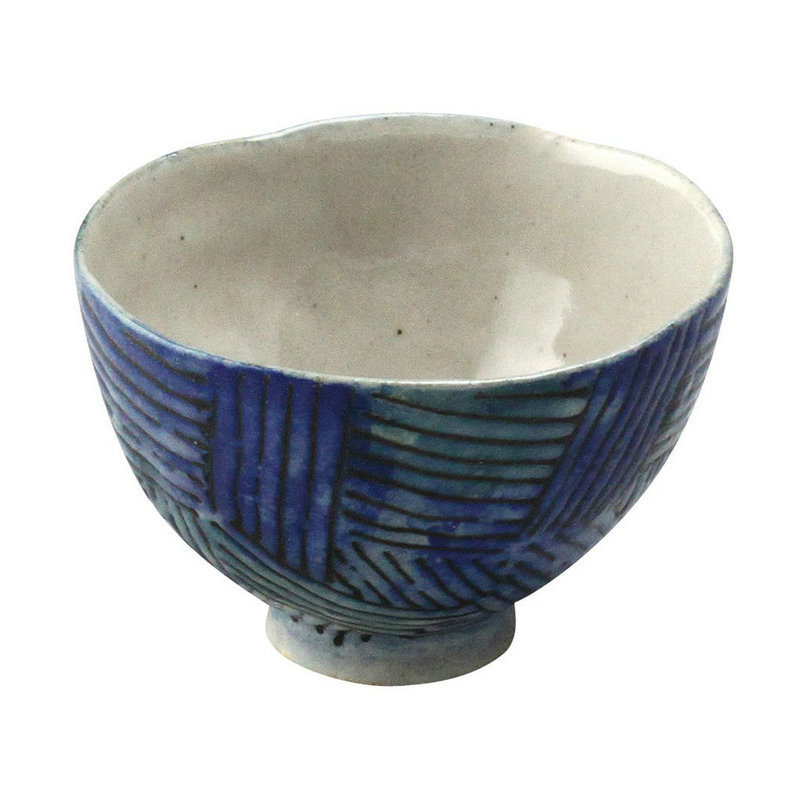 日本AITO手作陶瓷小圆碗汤面碗 【濑户烧手工网纹】深蓝
