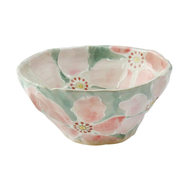 日本AITO手作陶瓷大碗汤面碗饭碗 【濑户烧手工彩花】红彩