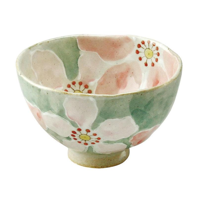 日本AITO手作陶瓷小碗汤面碗饭碗 【濑户烧手工彩花】红彩