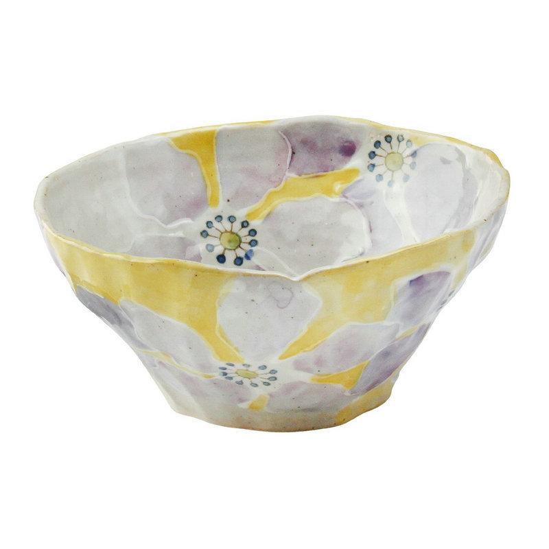 日本AITO手作陶瓷大碗汤面碗饭碗 【濑户烧手工彩花】彩花