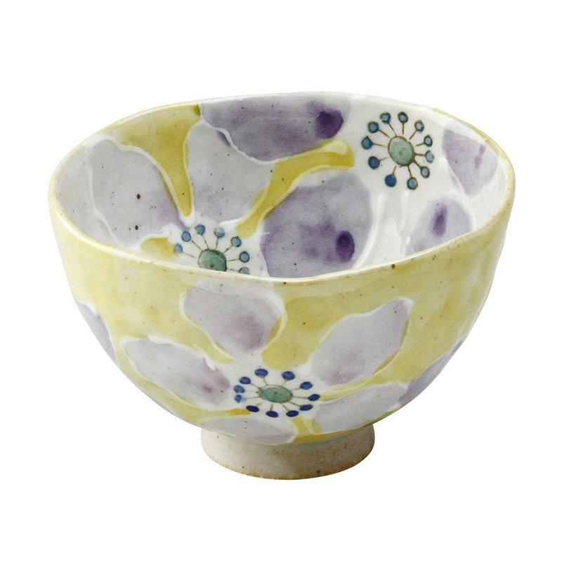 日本AITO手作陶瓷小碗汤面碗饭碗 【濑户烧手工彩花】彩花