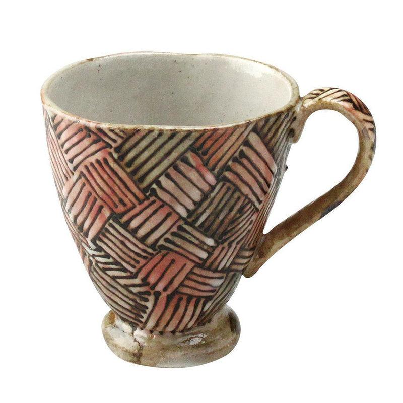 日本AITO陶瓷手工马克杯茶水杯 【濑户烧手工网纹】深红