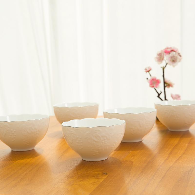 AITO美浓烧陶瓷浮雕刻花银边碗5件 【桂由美葡萄刻花】纯白