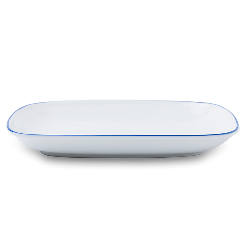 日本原产AITO美浓烧陶瓷西餐方形盘 【Daily系列】白底蓝边