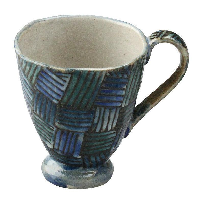日本AITO陶瓷手工马克杯茶水杯 【濑户烧手工网纹】深蓝