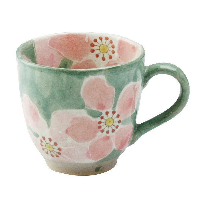 日本AITO手作陶瓷马克杯茶水杯 【濑户烧手工彩花】红彩