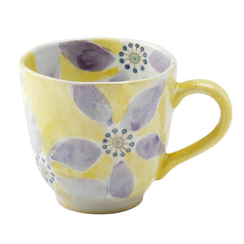 日本AITO手作陶瓷马克杯茶水杯 【濑户烧手工彩花】彩花