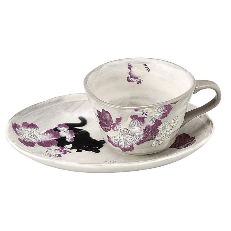 日本AITO濑户烧陶瓷茶水杯杯托套装 【抚松庵系列】芙蓉与猫