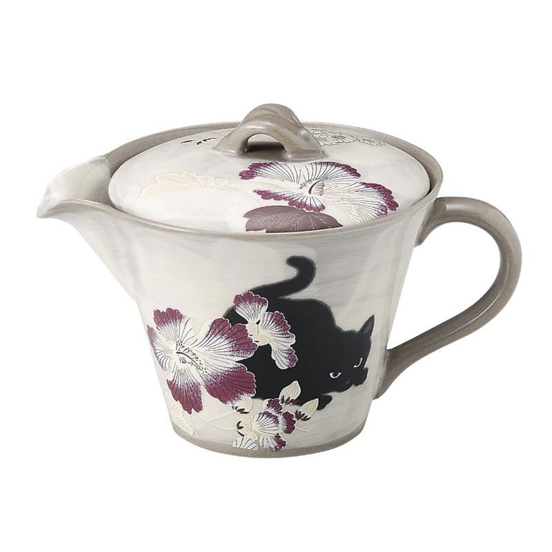日本AITO濑户烧陶瓷茶壶不锈钢滤网 【抚松庵系列】芙蓉与猫