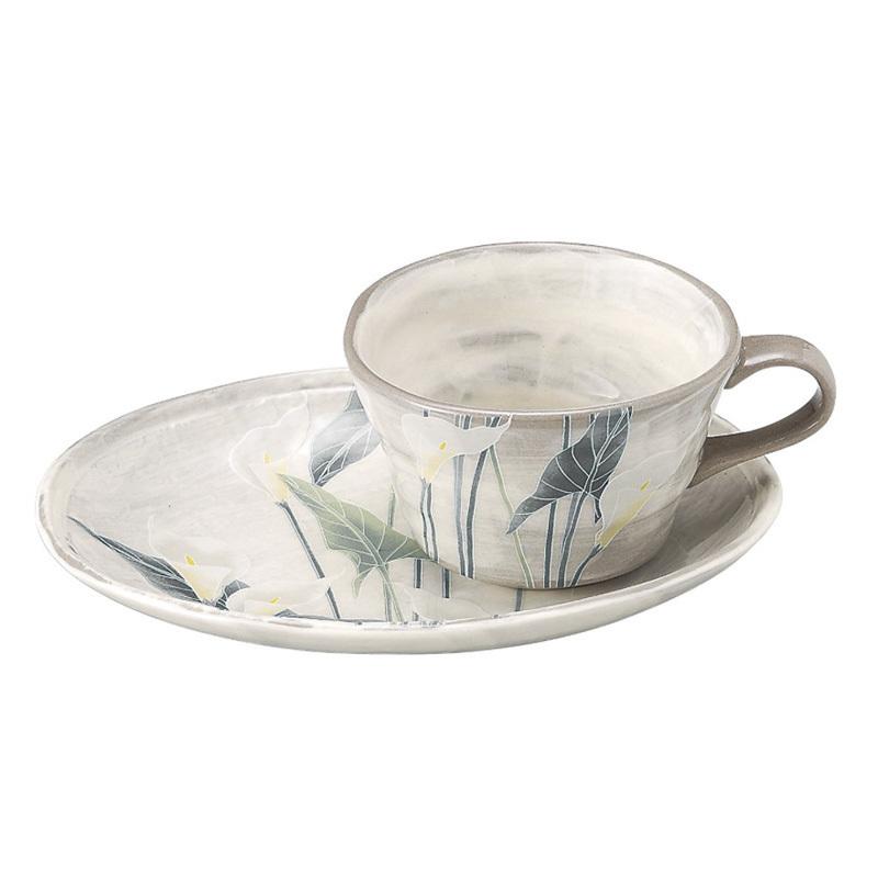 日本AITO濑户烧陶瓷茶水杯茶盘托套装 【抚松庵系列】马蹄莲