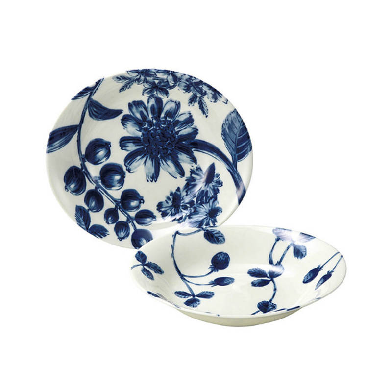 日本AITO美浓烧陶瓷餐碟中西餐盘子2件套 【Botamical系列】