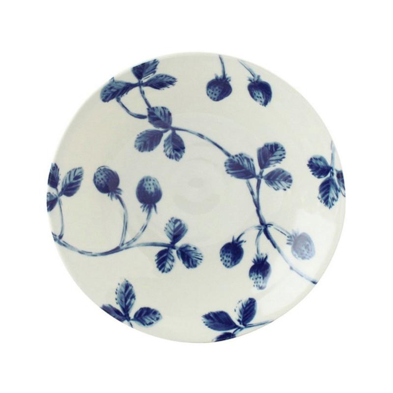 日本AITO美浓烧陶瓷碗浅口碗 【Botamical系列】草莓图案蓝白