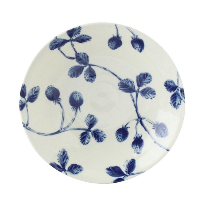 日本AITO美浓烧陶瓷盘深口碟 【Botamical系列】草莓图案蓝白