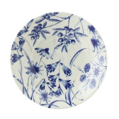 日本AITO美浓烧陶瓷盘早餐盘深口碟 【Botamical系列】风铃草