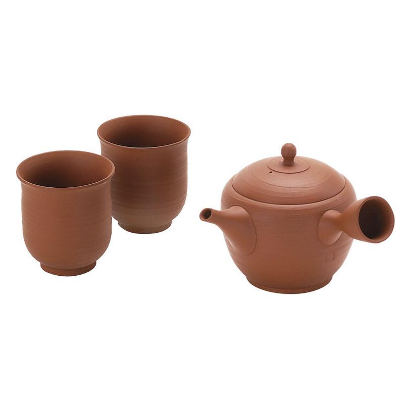 日本AITO手作朱泥茶水壶茶水杯茶具3件套 【常滑烧】朱砂色