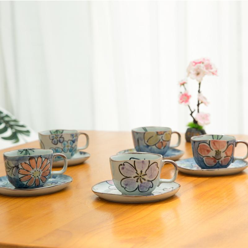 AITO陶瓷咖啡杯碟子茶水杯茶具5件套 【濑户烧手绘杯】花色