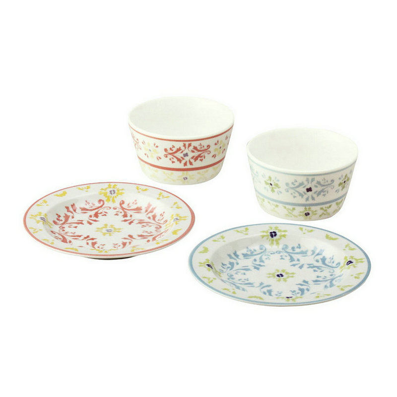 日本AITO美浓烧陶瓷碗餐碟盘子4件 【Diane-Harrison系列】蓝红色