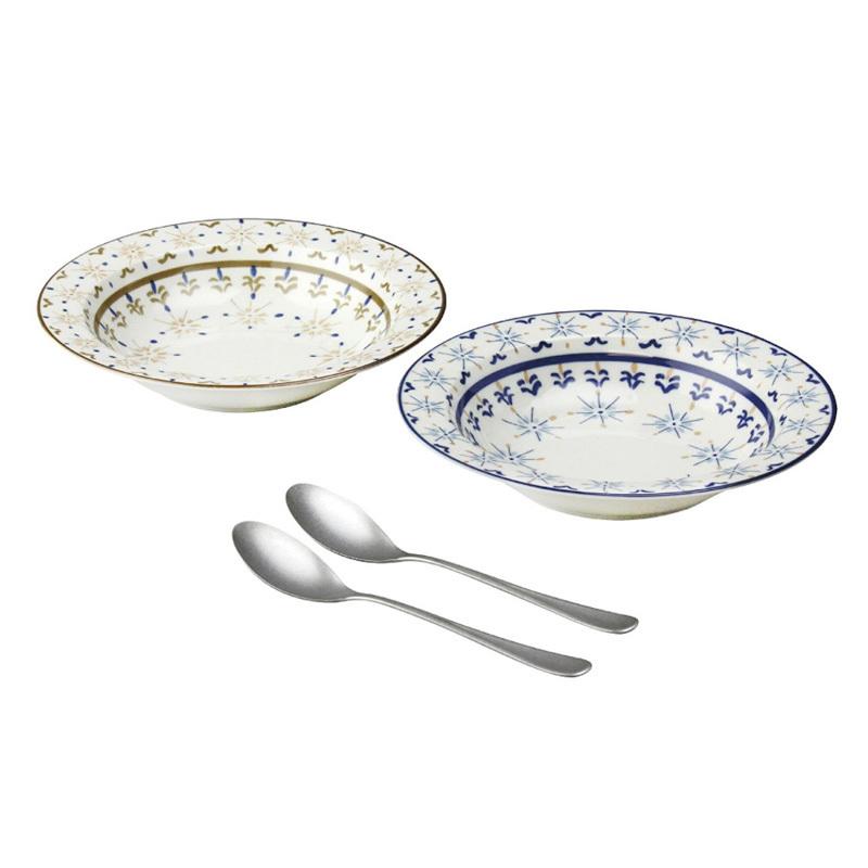 日本AITO美浓烧陶瓷碗勺子4件套 【Diane-Harrison系列】蓝棕色