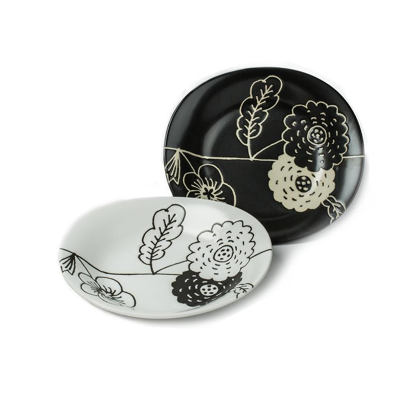 日本AITO美浓烧陶瓷碟子中西餐盘2件套装 【melko系列】黑白