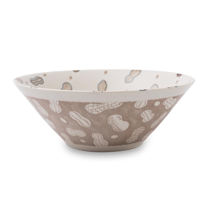 日本原产AITO美浓烧陶瓷碗 【Single-Item跳跃的花生】米色